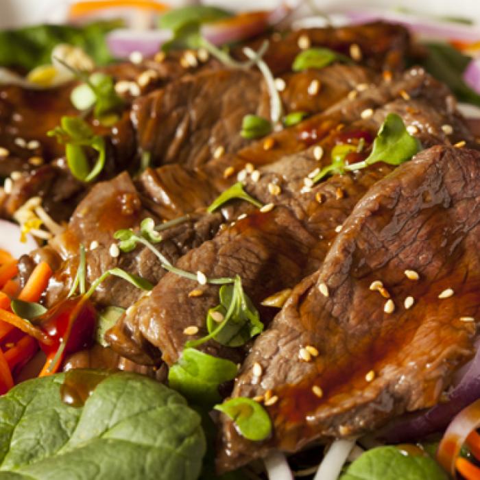 Салата с телешко и спанак по виетнамски