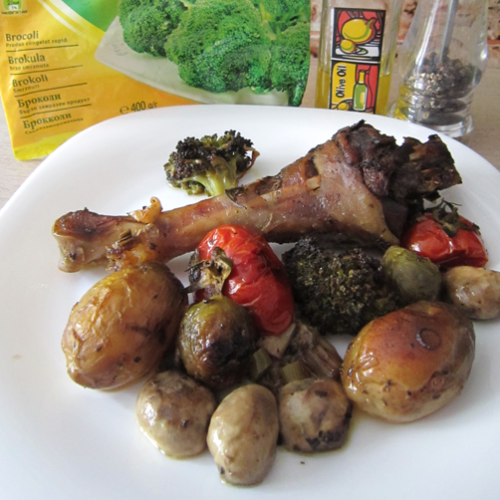 Curcan cu broccoli și ciuperci la cuptor