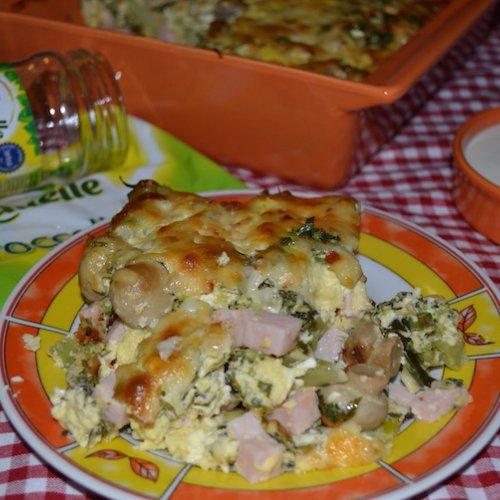 Gratin cu broccoli, praz și ciupercuțe