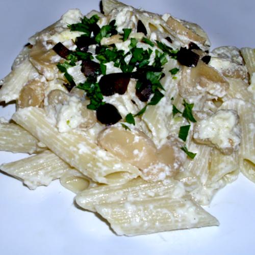 Penne Rigate cu ciuperci și sos alb