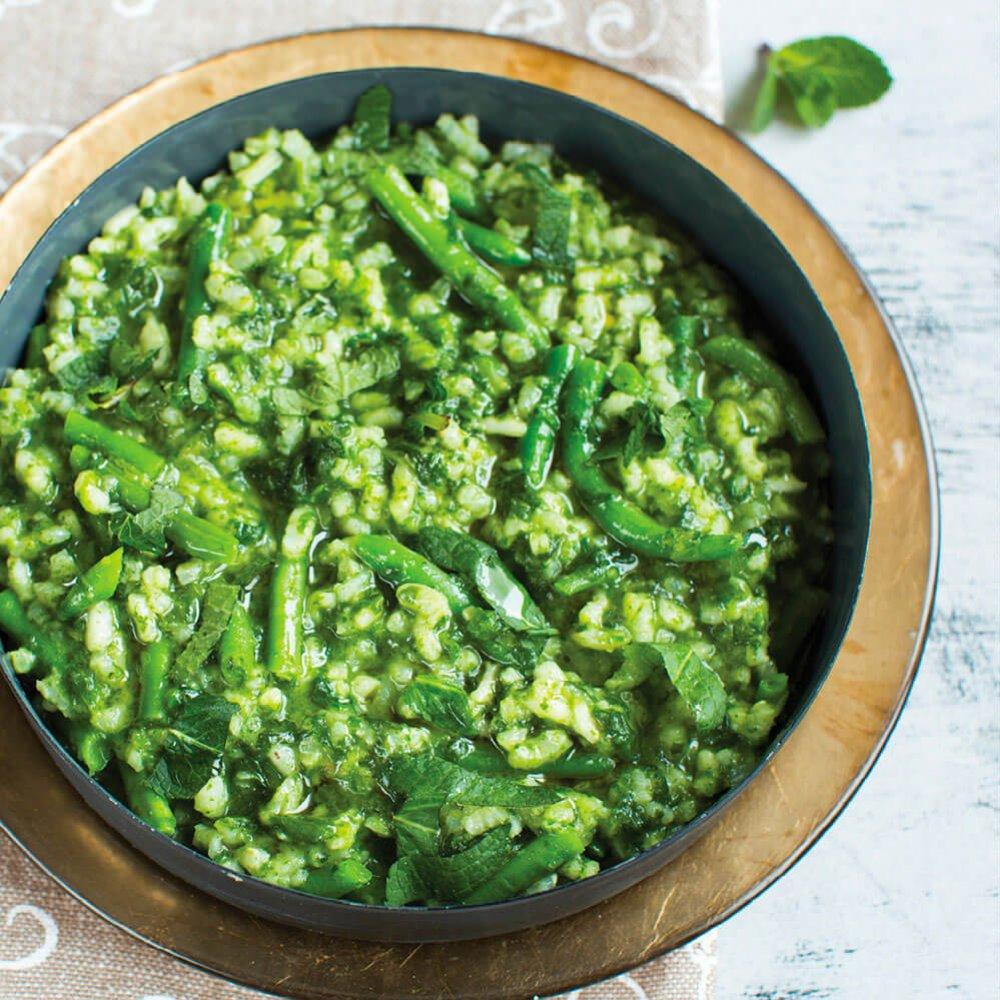 Risotto cu fasole verde și spanac