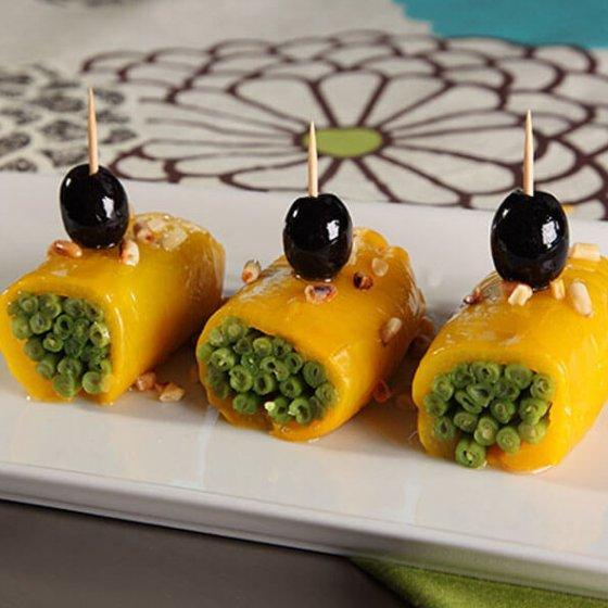 Rulouri de ardei gras umplute cu fasole verde