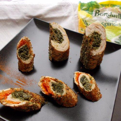 Ruladă de pui umplută cu morcovi și spanac