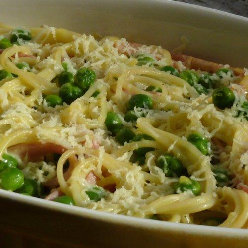 Spaghete cu mazăre  la cuptor
