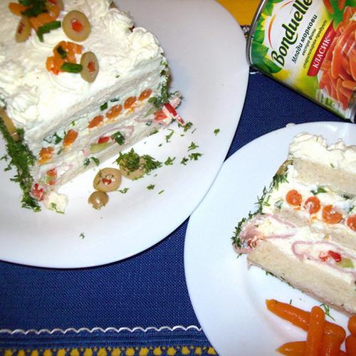 Tort aperitiv în trei culori