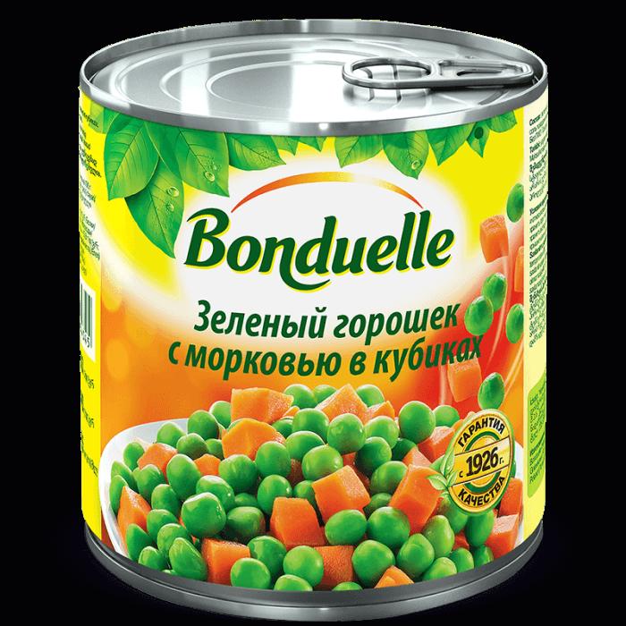 Зеленый горошек с морковью в кубиках