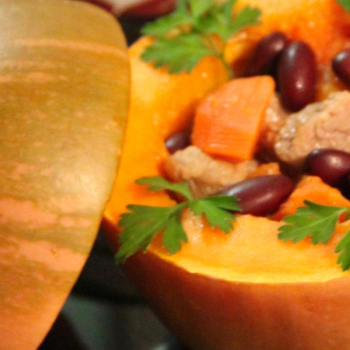 Запеченная тыква с мясом и овощами