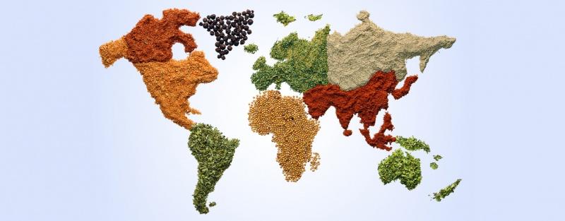 Різнокольорова загальна карта кухонь всього світу