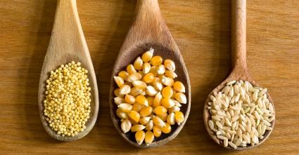 Ложки з дерева із зернами проса, кукурудзи та рису на столі