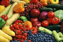 Фон із овочів та фруктів