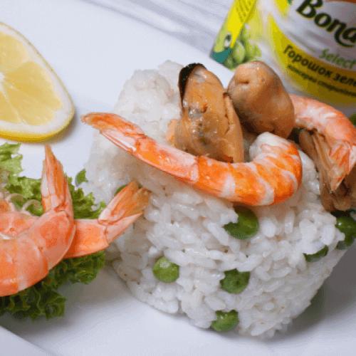 Різотто з морепродуктами та горошком Bonduelle