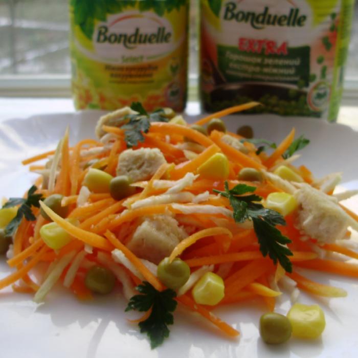 Салат з м'ясними кубиками та овочами Бондюель
